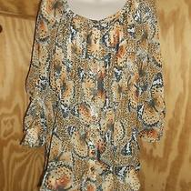 Grace Elements Women's Blouse Size Xl Polyester Earthtones Fold Up Sleeves Cuffs Photo