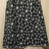 Grace Elements Women's Embroidered Skirtsz 12 Large Black White Office Church Photo