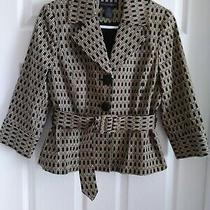 Grace Elements Women's Fit and Flare Belted Blazer. Black/tan. 12p Photo