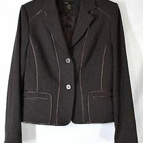 Grace Elements Women's Size 8 Brown Shimmer W/ Satin Trims Lined & Fitted Blazer Photo