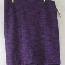 Grace Elements Women's Tweed Pencil Skirt Black/purple Large L Photo
