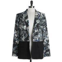 Grace Elements Womens 8 Blazer Jacket Black Multi Floral Ladies Designer Fashion Photo