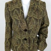 Grace Elements Womens Blazer Size 4 Two Button Gold Paisley Career Photo