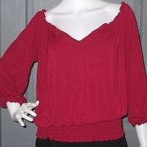 Grace Elements Womens Knit Smocked Top S Deep Red Peasant Shirt Photo