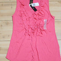 Grace Elements Womens Large Fresh Fuchsia Ruffle Front Sleeveless v-Neck Top Nwt Photo