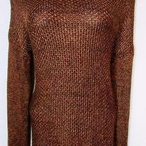 Grace Elements Womens Long Sleeve Scoop Knit M Brown Copper Sweater Nwt 70 I Photo