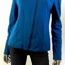 Grace Elements Womens Misses Pleated Zip Jacket Sz 6 Blue Solid Coat Sale Us Photo