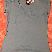 Grace Elements Womens Shirt Blue Surf v-Neck Crocheted  Small Photo