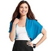 Grace Elements Womens Shrug Cardigan Blue Short Sleeve Open Size M Nwt 59 Photo