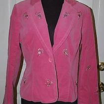 Grace Elements Womens Size 10 Jacket Blazer Corduroy Pink Embroidery Flowers  Photo