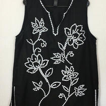 Grace Elements Womens Size Xl Black White Sleeveless Floral Embroidered Shirt Photo