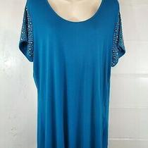 Grace Elements Womens Size Xl Blouse Blue Top Beaded Sleeve Photo