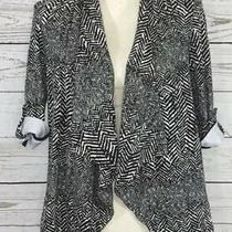 Grace Elements X-Small Xs Black White Abstract Stretch Cardigan Jacket New Photo
