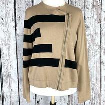 Grace Elements Xl Black Tan Striped Asymmetrical Zip Sweater Cardigan Nwt (J7) Photo