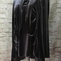 Grace Elements Xl  Gray Velvet Open Front Ruffle Edge Jacket With Camisole Tank  Photo