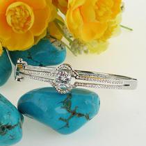 Graceful Wedding Oval Drop Bangle Bracelet Cuff Clear Swarovski Crystal Zircon Photo