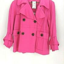 Gracie Elements Mystique Urban Pink Short Trench Coat Size 12 New Button Front Photo