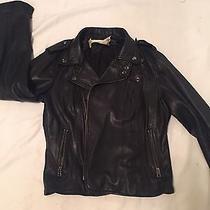 Graham & Spencer Black Leather Motorcycle Jacket Medium Photo