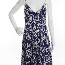 Graham & Spencer Blue White Silk Floral Print Blouson Dress Sz S  Photo