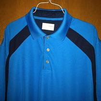 Grand Slam Golf Cooling Polo Shirt Aqua Blue Size Large Sh  Sleeve Black Stripes Photo