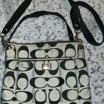 Gray and Black Coach Tote Purse Handbag Photo