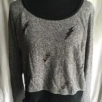 Gray Black Express Long Sleeve Lightening Bolt Cropped Sweatshirt L Photo