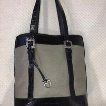 Gray Brighton Handbag Purse With Black Leather Trim Photo