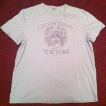Gray Calvin Klein T-Shirt Size L Graphic Tee Shirt Large New York Logo White Ck Photo