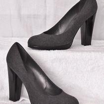 Gray Flannel Wool Stuart Weitzman Lacquer Leather Heel Platform Pumps Shoes 9 Photo