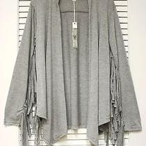 Gray Fringe Open Cardigan M W/ Anthropologie Earrings Photo
