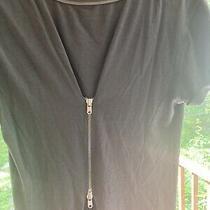 Gray Gap T-Shirt W/waist-Accentuating Zipper Details in Back & Neckline M Photo