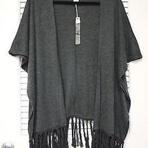 Gray Knit Dolman Open Cardigan W/ Fringe S  Anthropologie Earrings Photo