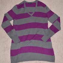 Gray Purple  Gap Maternity  Striped v-Neck Sweater - Large Photo