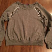 Gray Sweatshirt With Some Silver and Black Sequins Size L Photo