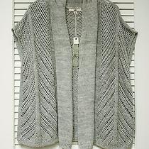 Gray Texture Open Cardigan M W/ Anthropologie Earrings Photo