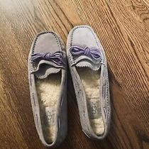Gray Ugg Slippers With Purple Bow-Once Worn Indoors Photo