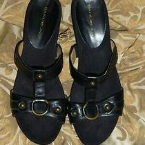 Great Black Leather Summer Mule/wedges by Bandolino  Sz 8.5 M Photo