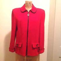 Great Bright Color  St. John Collection Red Zip Blazer in Size 14 Photo