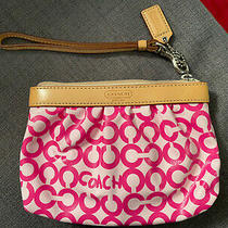 Great Condition Coach Signature C Wristlet Purse Pink Small Photo