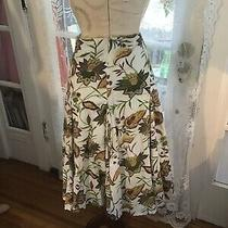 Great Elements Skirt sz.14brown With Yellow and Purple Wildflowers Print. Photo
