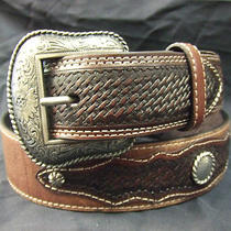 Great Looking Brand New Leather Fancy Western Belt by Roper Size 34 Photo