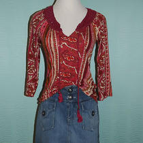 Great Lucky Brand 3/4 Sleeve Lightweight Top & Fossil Denim Mini Skirt Size 4/s Photo