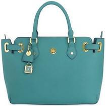 Great Value - Christie Leather Satchel - Teal - Joy Mangano Purse Tote Bag Photo
