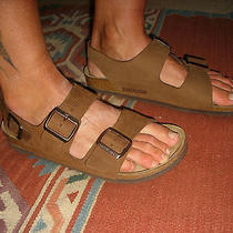 Great Womens 9 Mens 7 Birkenstock Sandals Brown Leather Shoes 3 Straps    Photo