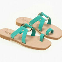 Greek Handmade Sandals Leather Strappy Ancient Style Toe Ring Women Shoes Slide  Photo