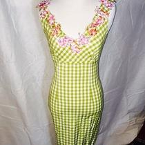 Green Checkerboard Dress With Flowers Moschino Cheap and Chic 4 Photo