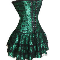 Green Deluxe Satin Corset Bustier Inc. Skirt V2162gs Photo