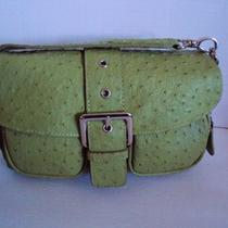 Green Faux Ostrich Handbag Purse Butterfly Brand Designer Bag Buckle Closure Photo