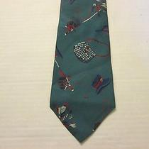 Green Fishing Patterned Men's Neck Tie by Gap Photo