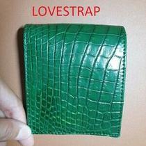Green / Genuine Alligatorcrocodiles Bally Leather Skin Men's Bifold Wallet Photo